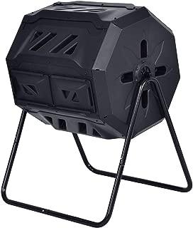 COSTWAY 43-Gallon Garden Waste Bin Grass Composter | Outdoor Compost Tumbler | Fertilizer Barrel Black | 29