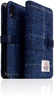 [SLG DESIGN] D5 Special Edition X Harris Tweed for iPhone XR I 100% Tweed Wool Fabric Flip Folio Book Case Wallet Cover with Feature Card Slots Compatible with iPhone XR (Navy)