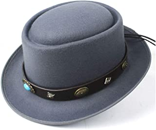 2019 Mens Womens Hats Unisex Men Women Flat Top Hat Autumn Winter Pork Pie Hat with Punk Belt Fedora Hat for Gentleman Porkpie Church Fascinator Trilby Hat Size 56-58CM (Color : Gray, Size : 58)