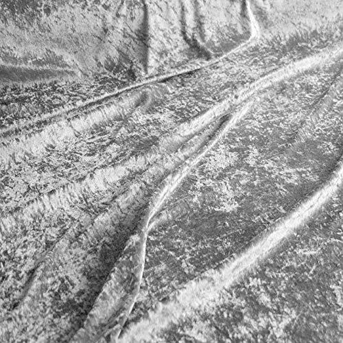 TOLKO 1m Pannesamt als Meterware Edel glänzender Stretch Samt-Stoff zum Nähen Dekorieren | 145cm breit Kleidungsstoff Dekostoff Modestoff Polyesterstoff für Vorhänge Gardinen Bühne (Silber)