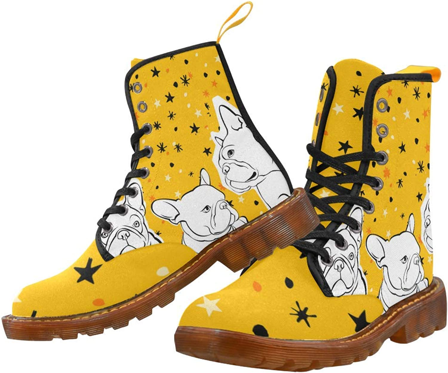InterestPrint Women's Lace Up Boots Bulldog Canvas Martin Boots Combat Ankle Booties shoes