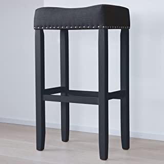 Nathan James 21404 Hylie Nailhead Wood Pub-Height Kitchen Counter Bar Stool 29