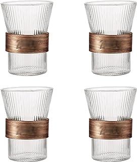 الرجعية مجموعة كأس الزجاج العمودي من 4 10.5 أوقية المشروبات المنزلية زجاج مجموعة زجاجي خالية من الرصاص