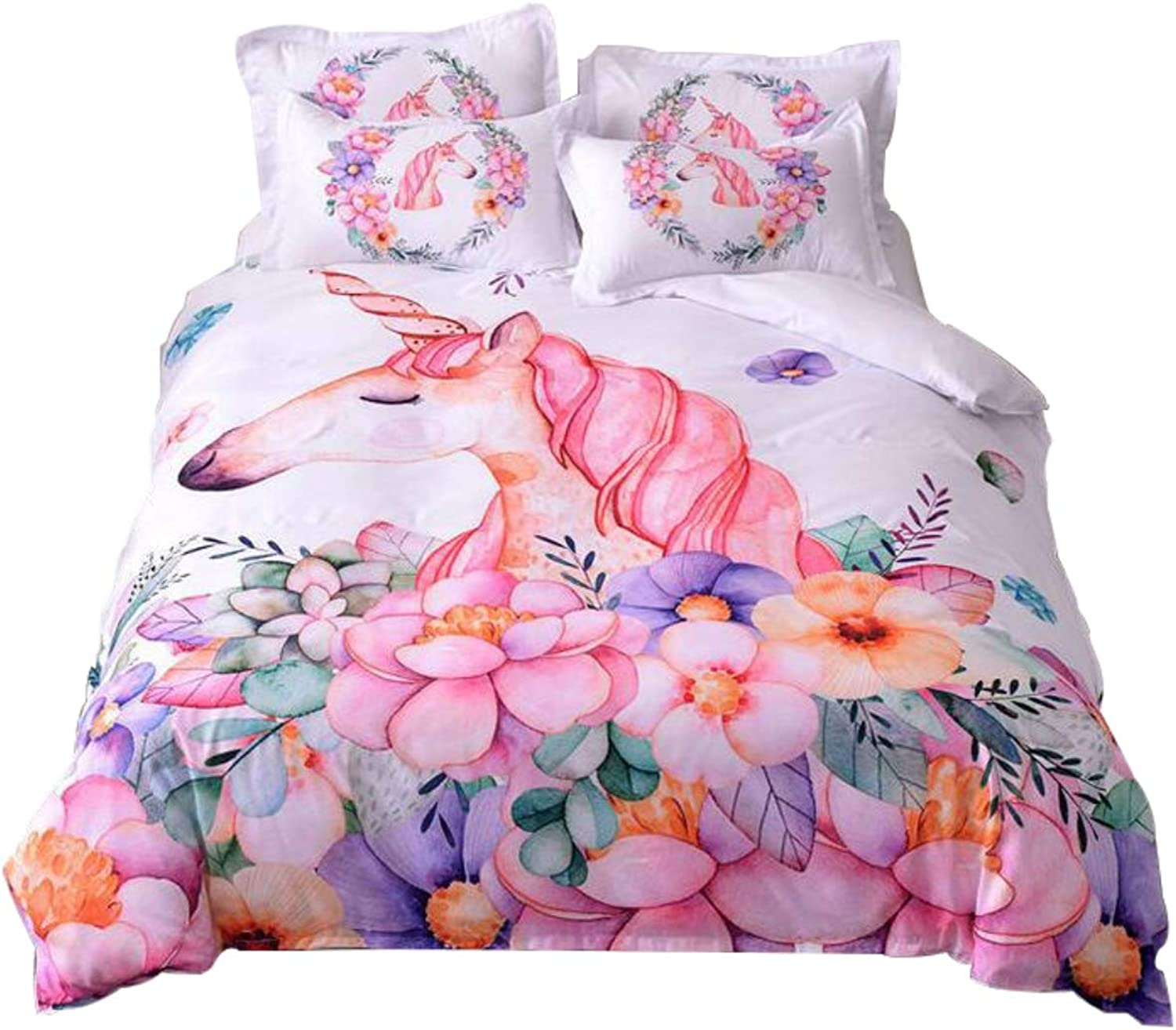 WINLIFE Watercolor Unicorn Print Duvet Cover for Girls Pink Floral Bed Cover Set King A