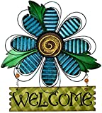 YUMBOR Hanging Metal Flower Welcome Sign Vintage Blue Flower Wreath for Front Door Kitchen Yard Porch Decor Iron Garden Patio Welcome Sign Spring Floral Sign for Home Garden Decor (Blue Flower)
