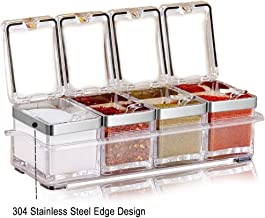 Aogist Kitchen Spice Pots, 4 Piece Clear Seasoning Box - Premium Quality Seasoning Storage Container - Storage Container C...