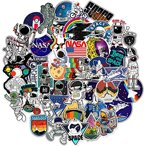 50 Pcs Stickers Pack for Water Bottles, NASA Logo Space Astronaut Vinyl Sticker for Hydroflask Helmet Laptop Computer Phone Skateboard, Waterproof Decals Novelty Gifts for Kids Adult Teens Girls Boys