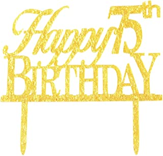 Glitter Gold Acrylic Happy 75th Birthday Cake Topper Decorations, 75 Birthday Anniversary Party Cupcake Topper Decor (75, gold)