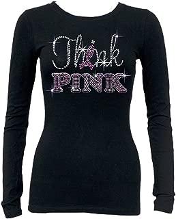 Think Pink Rhinestone Women Junior's Long Sleeve T Shirt Breast Cancer Tee