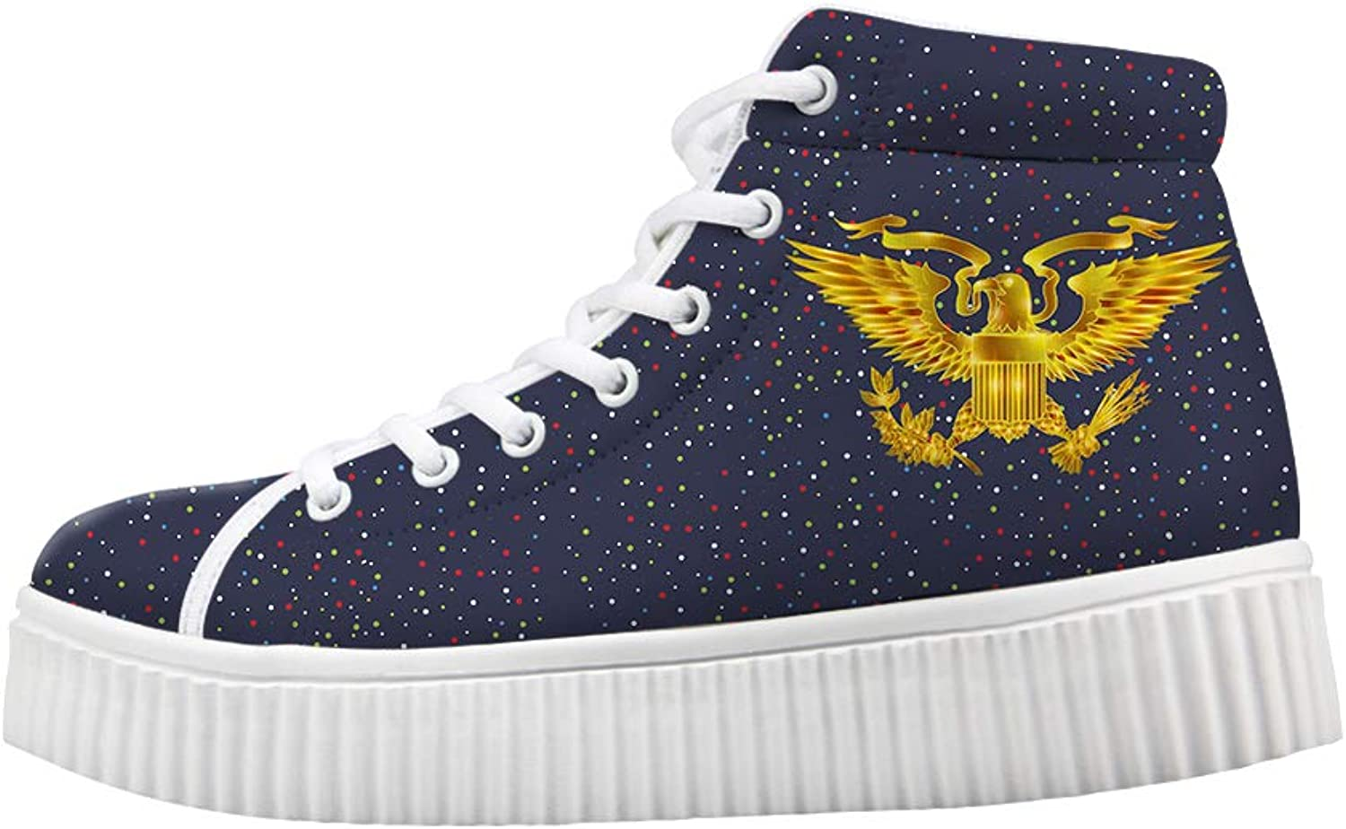 Owaheson Platform Lace up Sneaker Casual Chunky Walking shoes Women Glowing gold Presidential Seal