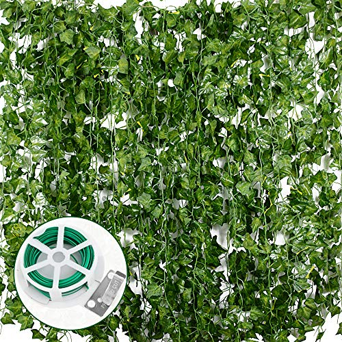 Artificial Ivy - 157 Ft 24 Strands (Each 6.56FT) Fake Ivy Vine Leaves Garland Hanging Plant with 100 Pack of Green Cable Ties for Wedding Party Garden Home Wall Decoration