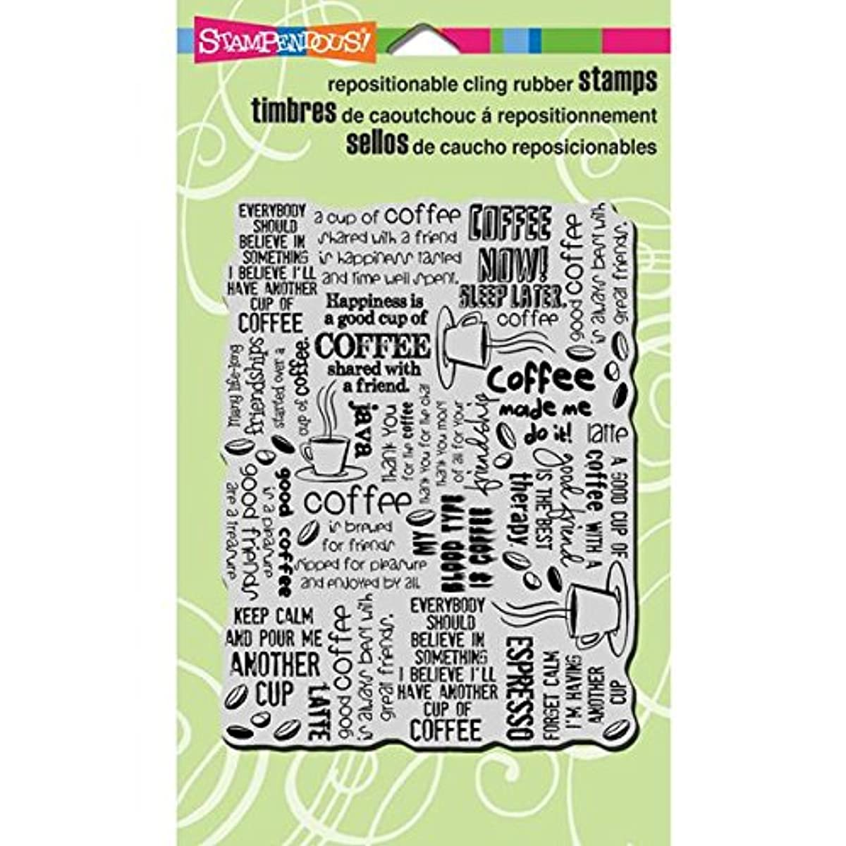 Stampendous Cling Rubber Stamp, 4 by 6-Inch, Coffee Big