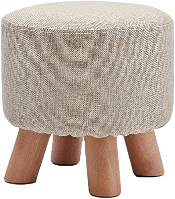 JSZMD 28cm(H) Round Linen Foot Stool, Ottoman Pouffe Single Seater with Four Solid Wood Feet 29 * 29 * 28cm (Color : Grey)