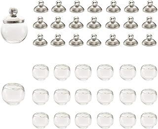 22 قطعة صغيرة فارغة من الزجاج الكرة الأرضية 10 مم زجاجات كرة الأمنية مع 20 قطعة من النحاس البلاتينيوم لصنع المجوهرات