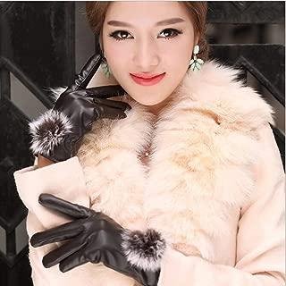 1 Pack (1 Pair) Women PU Leather Winter Glove Color Brown Rabbit Fur Ball Mittens Unisex Men Womens Girls Toddler Lavish Fashionable Extreme Gym Plus Work Hand Wrist Strap Dryer Touch Gloves