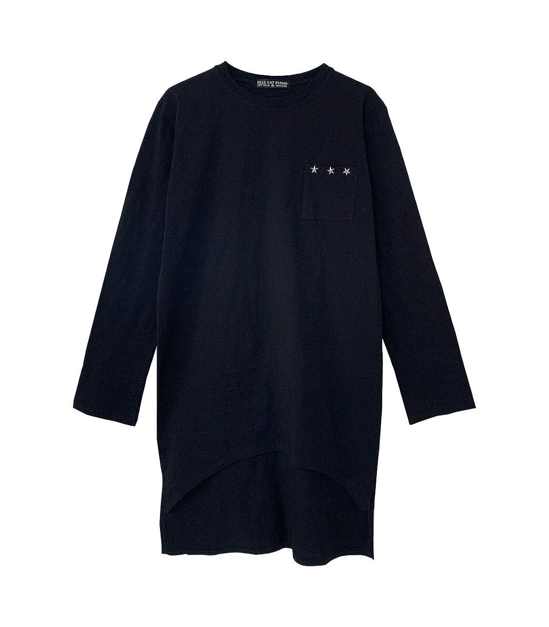 評価するワーカー習字HELLCATPUNKS(ヘルキャットパンクス) スタースタッズ ロングスリーブTシャツ HCP-T-0080 (BLACK-F)