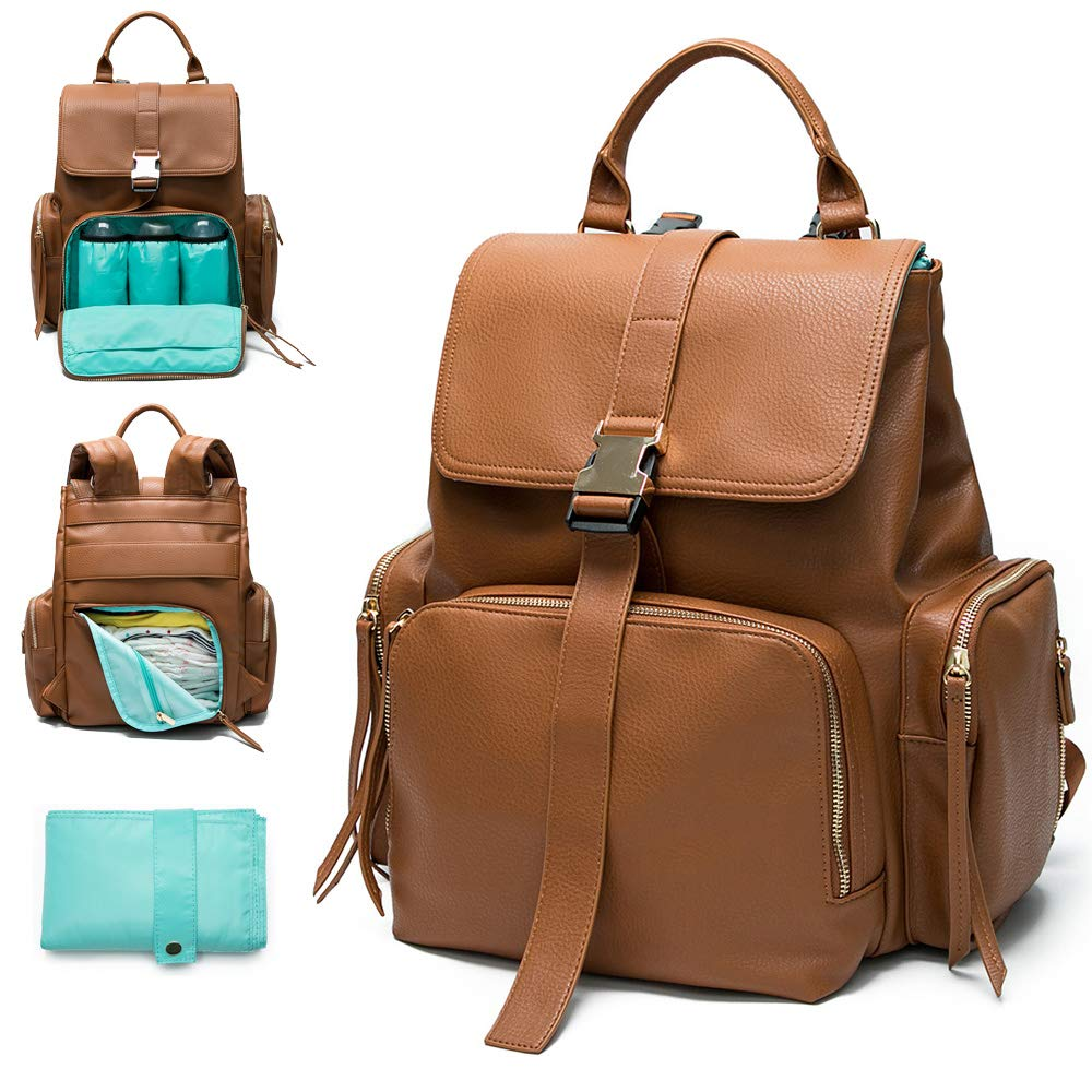 Backpack Mominside Leather Changing Capacity