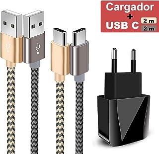 Zeuste-Quick Cargador Móvil con 2 Puertos USB Compatible con la mayoría de Dispositivos móviles,2-Pack 2M Cable USB Tipo C(Gris Gold) para Samsung Galaxy S9/S8+/Nota 8,Sony Xperi,Huawei P9