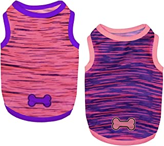 Sponsored Ad - Set of 2 Dog Shirts Puppy Clothes Summer Shirts Cute Girl Boy Tank Tops Soft Pet Apparel for Small Dogs Cat...