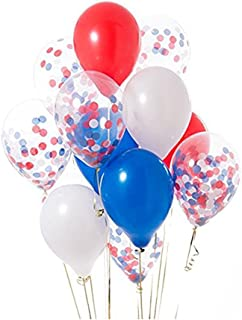 12'' Red Blue White Confetti Balloons Kit for Independence Day Royal Wedding,4th of July Party Favors(20 Pack)