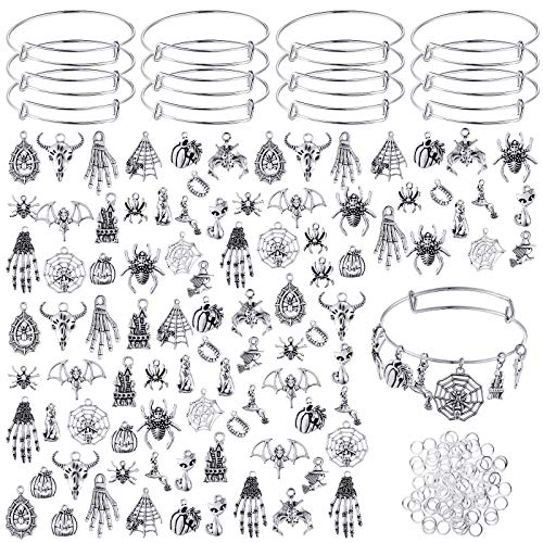 220 Pieces Antique Silver Halloween Charms Mixed Pendants DIY Charm Pendant Assorted with Expandable Bangle Adjustable Wire Bracelets and Open Jump Ring for Halloween DIY Craft Jewelry Making