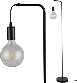 Thomas Industrial Floor Lamp by Lightaccents - Standing Lamp Torchiere with G125 Decorative LED Bulb Included (Black)