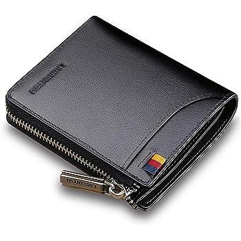 UK Mens RFID Wallet Genuine Leather Zip Around Purse Credit Card Coins Holder