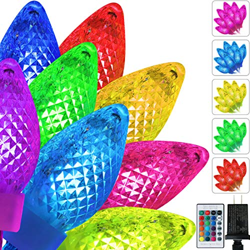 50 LED Color Changing Christmas Lights Outdoor, C6 String Lights Plug in Connectable Xmas Tree Lights with Remote for Christmas Trees Garden Patio Parties Decor Multicolor - 41ft(Multicolor)
