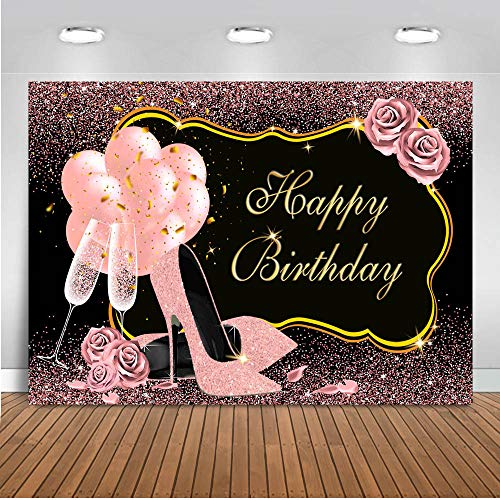 Mocsicka Rose Gold Happy Birthday Backdrop 7x5ft Sweet Pink High Heels Champagne Woman's Birthday Photography Background 30th 40th 50th Bday Party Photo Backdrops
