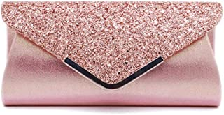 Vistatroy Women Glitter Sequins Envelope Evening Bag Handbag Party Bridal Clutch Purse (Rose Gold)