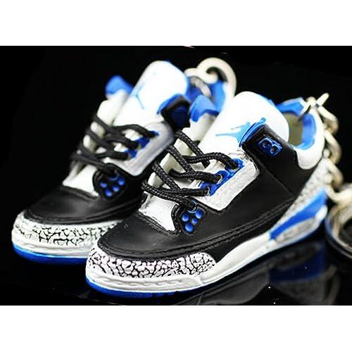a5849c012dc1b1 Air jordan III 3 Retro Cement Sport Blue Sneakers Shoes 3D Keychain