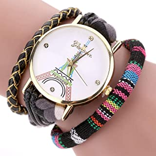 Wristband Women's Wrist Watches Ladies Series Girls Watch Female for Women Women's Watch Woven Watch,Colour Name:Red (Colo...