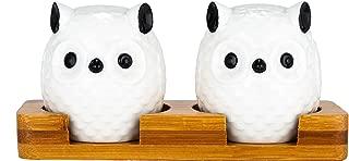 Xena 3 Piece Cute Retro Elegant Ceramic Owl Salt and Pepper Shaker Bamboo Base Set, 6 x 3 x 2.25 Inch Seasoning All Natural Eco Friendly Novelty White Black Gift Present Utensil Kitchen Decor