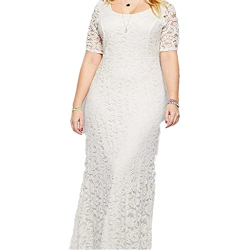 4c8a9973ce14 Janlyy Women's Full Lace Maxi Dress Plus Size Formal Party Evening Prom  Wedding Short Sleeve Long