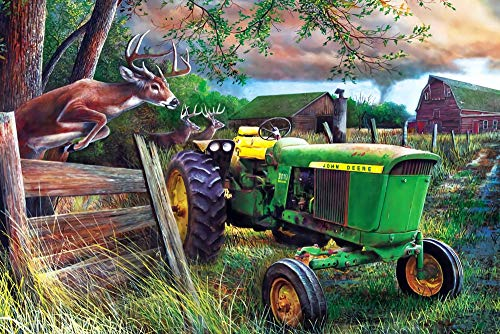 LYGMDW Jigsaw Puzzle 1000 Piece For Adults Puzzle 3D Wooden Classic Puzzle Deer Tractor Educational Toys Game Interesting Gift For Adults Children Teenagers