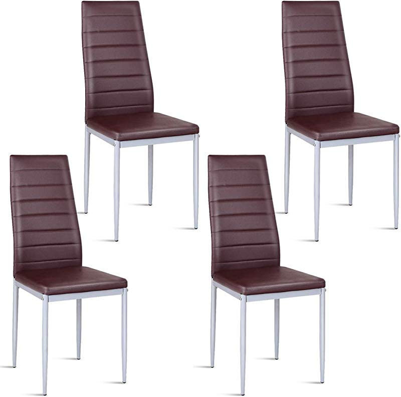 Giantex Set Of 4 PU Leather Dining Side Chairs With Padded Seat Foot Cap Protection Stable Frame Heavy Duty Elegant Ergonomically High Back Design For Kitchen Dining Room Home Furniture Coffee