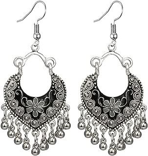 Ethnic Brocade Gypsy Engraved Flower Tassel Bells Hook Earrings Long Hollow Dangle Earrings for Women and Girls