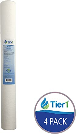 Tier1 P5-20 5 Micron 20 x 2.5 Spun Wound Polypropylene Sediment Pentek Comparable Replacement Water Filter 4 Pack