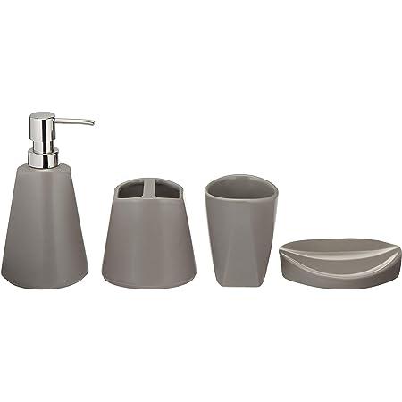 Amazon Basics Ensemble de 4 accessoires de salle de bain en céramique, distributeur de savon à pompe rechargeable, gobelet, porte-brosse à dents, porte-savon - Gris