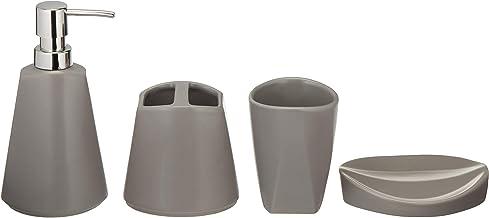AmazonBasics - Juego de accesorios de baño de cerámica, 4 piezas, gris, 1