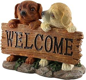 JYSPT cuccioli Welcome ornamento Sign Little Dog statua in resina artigianato Art work for home yard Garden Decoration