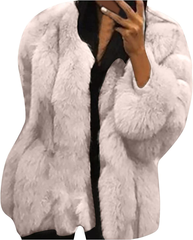 Women's Round Neck Plush Cardigan Faux Fur Shearling Long Sleeve Temperament Coat Warm Winter Outwear