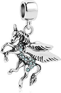 CharmSStory Unicorn Animal Charm Synthetic Crystal Dangle Beads for Charm Bracelets