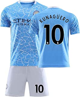 Soccer Uniform Adult Boys Soccer, 2021 Manchester City Home De Bruyne, Aguero Number 10 Kunaguero Soccer Jersey, Youth Men...