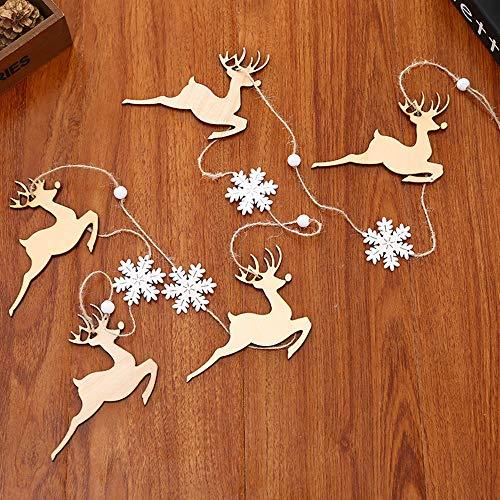 Ouneed- 1.9M Noel Decoration Suspendu en Bois Flocons de Neige Banniere Bonhomme de Neige Arbre de Noël Embellissement en Bois a Suspendre pour Sapin de Noël (C)