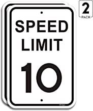 "2-Pack Speed Limit 10 MPH Sign Slow Down Traffic Sign 12""x18"" Rust Free 40Mil UV.."