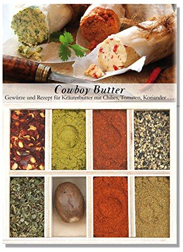 Cowboybutter – 8 Gewürze Set für die würzige Kräuterbutter (50g) – in einem schönen Holzkästchen – mit Rezept und Einkaufsliste – Geschenkidee für Feinschmecker von Feuer & Glas