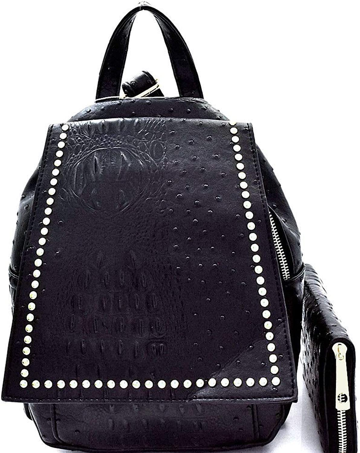 Handbag Republic Ostrich Embossed MultiCompartment Backpack + Wallet BLACK