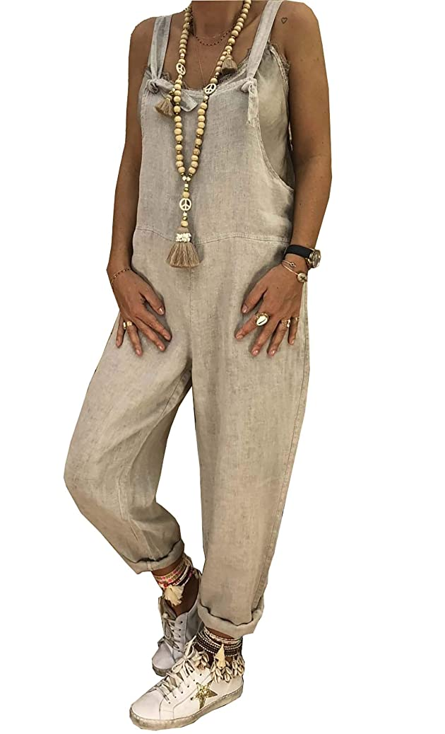 Cinyifaan Women's V Neck Casual Loose Long Jumpsuits Romper Playsuit with Belt gqdcdmswue