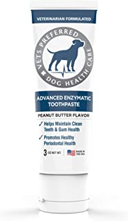 Vets Preferred Advanced Enzymatic Toothpaste for Dogs - Veterinarian-Grade, Safe and Natural Dog Toothpaste - Freshens Dog Breath, Fights Plaque and Reduces Tartar, Peanut Butter Flavor